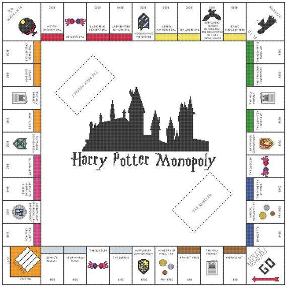 Harry Potter Monopoly Cross Stitch Pattern by KatsCrossStitchery, $8.00