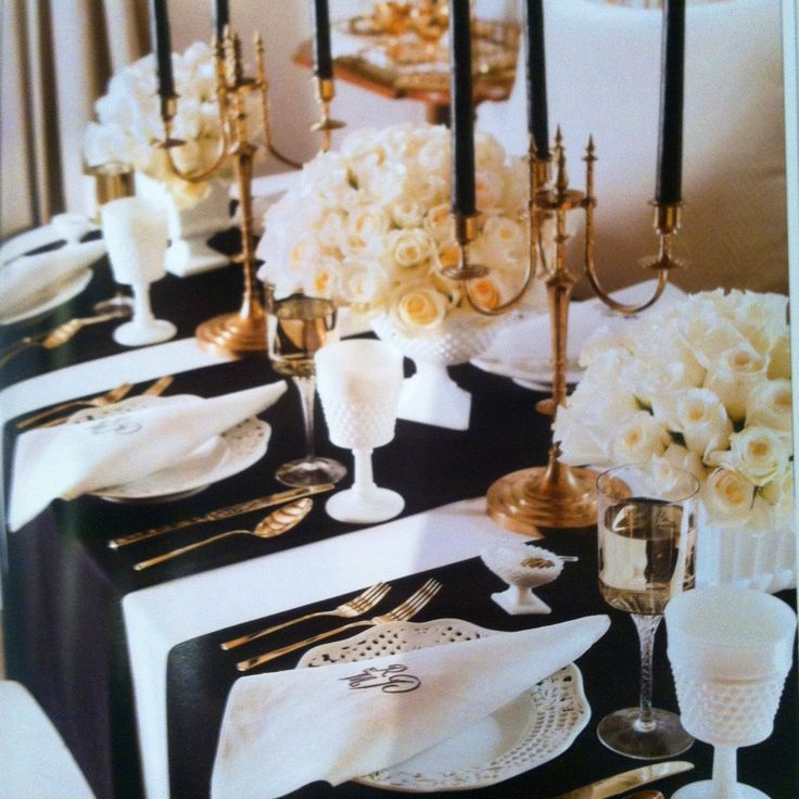 Black and white table setting with a