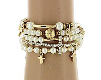 5-Strand Pearl and Goldtone Beaded Cross Stretch Bracelet #AB6520-GPL