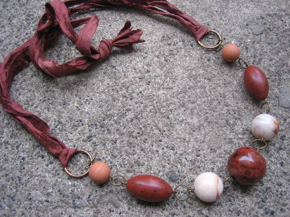 Things Are Bad, Send Chocolate Necklace with recycled vintage beads & brown sari silk ribbon