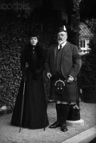King Edward VII and Queen Alexandra in mourning for Queen Victoria,Mar Lodge in Scotland, 1901.