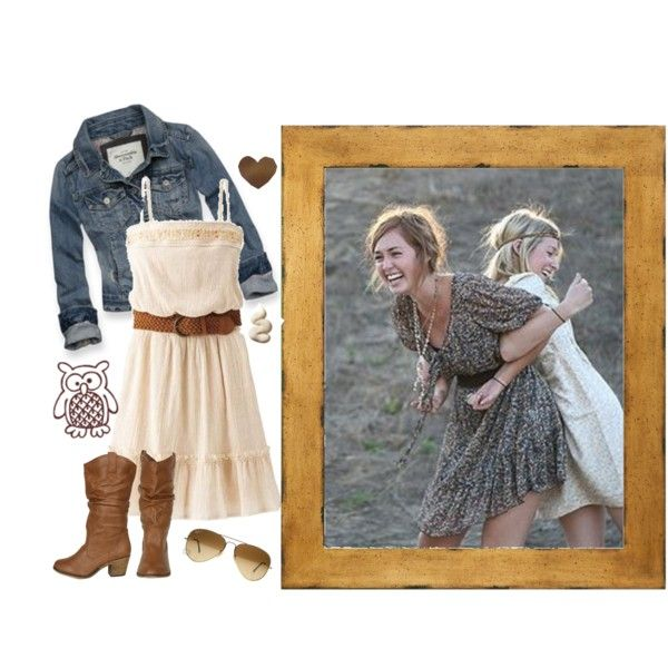 denim, creamy dress, and cowgirl boots