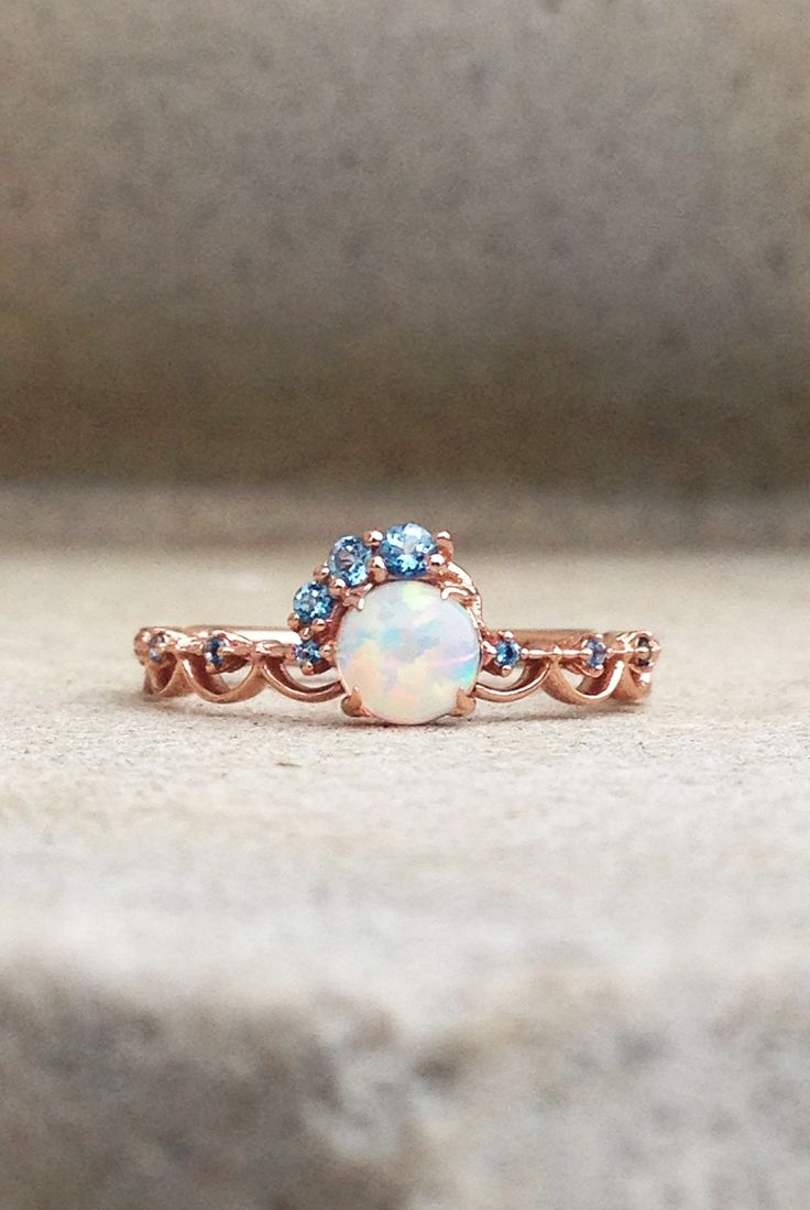 Opal Engagement Ring, Alternative Engagement Ring, Rose Gold engagement ring, Gemstone ring, Opal Ring, Sky Blue Topaz Accent Stones, Contact Armentor Jewelers for any Custom Ring Idea