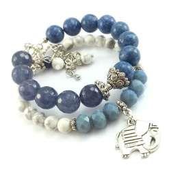 Komplet bransoletek z kamieni szlifowanego jadeitu, niebieskiego korala i  białego turkusu.