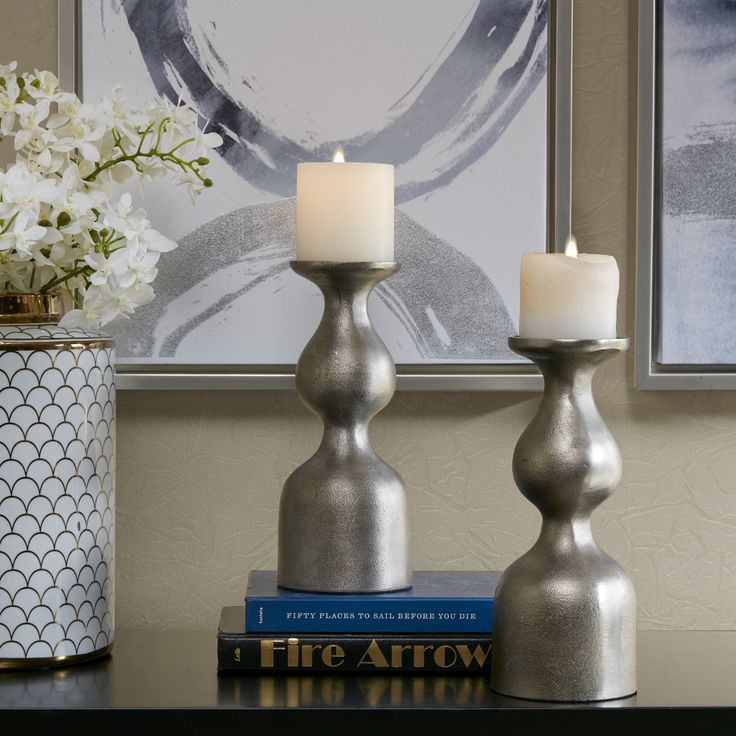 "Madison Park Signature Allston Grey Candle Holder (Set of 2) (4W x 4""D x 10""H - Grey) (Aluminum)"