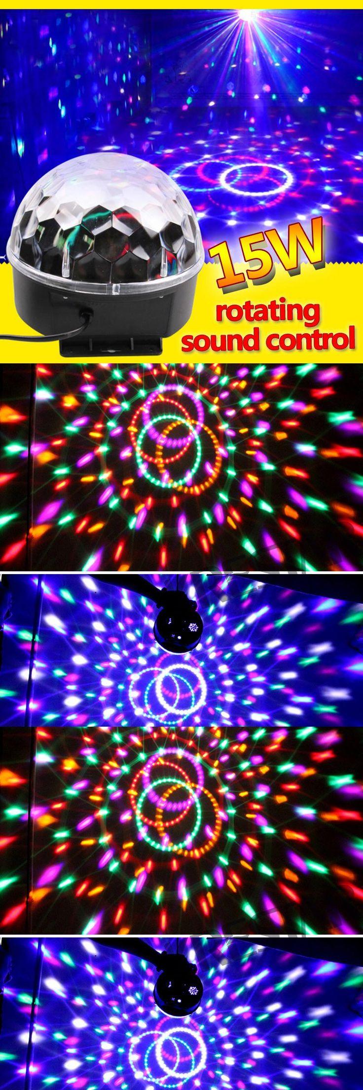 [Visit to Buy] RGB Stage Effect Light Crystal Auto Sound Magic Ball Disco Lighting star shower laser party DJ club elf Lamp Digital EU US Plug #Advertisement