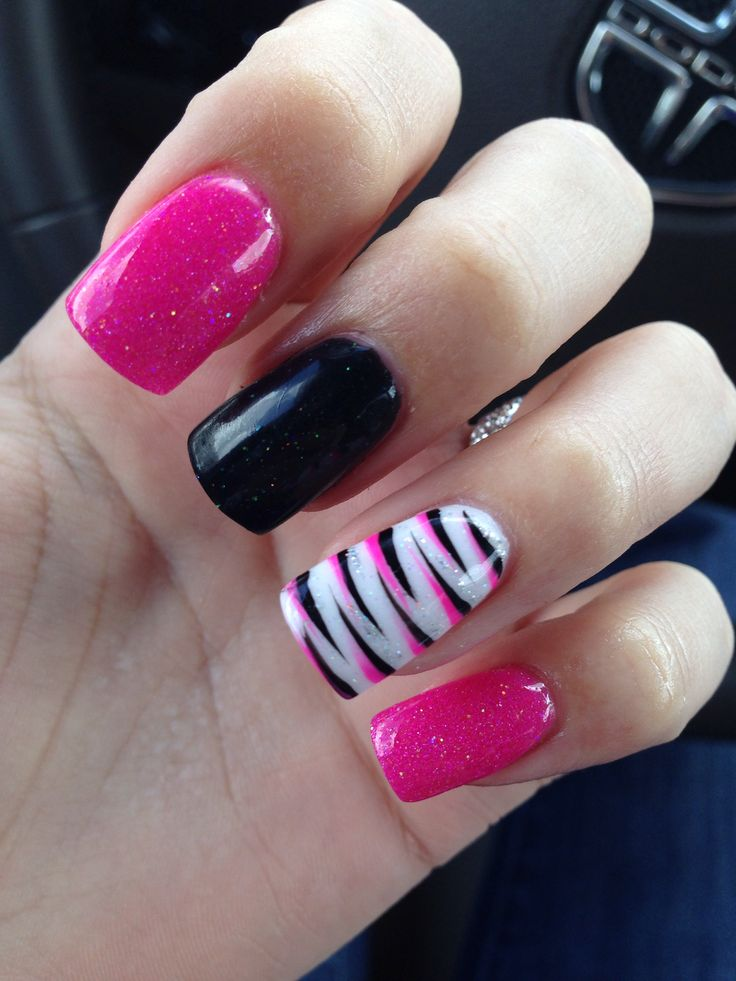 Nails zebra pink black - 37 Best Black & Pink Nails Images On Pinterest Black Nails, Pink