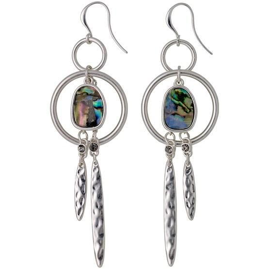 Pilgrim earrings with pretty shiny rings, oblong pendants with hammered surface, shiny crystals and large white inset shell in changing blue and green colours. Silver-plated, but also available as rose gold-plated.