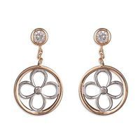 Rose Gold Overlay On Solid Sterling Silver Drop Earrings, Round Flower, New.