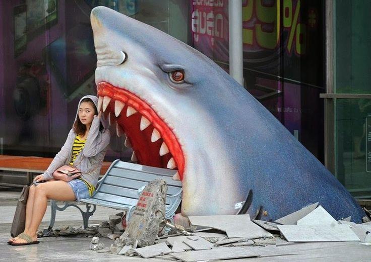 """Shark Attack"" city bench seen in Thailand:"