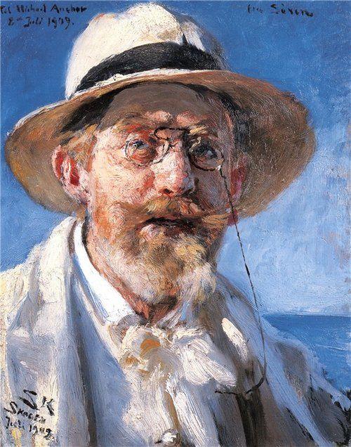 poboh:    Self portrait, 1909, Peder Severin Kroyer. Danish Painter, born in Norway (1851 - 1909)
