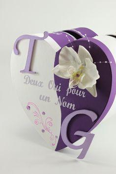 Urne de mariage prune (violet) et blanche thème orchidée | L'atelier de Claraméline