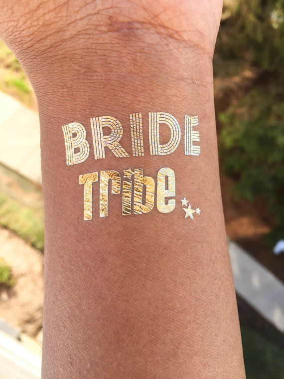 FREE SHIPPING Temporary Tattoo Favor, Set of 10 Bachelorette party favor,bride tribe tattoo,bachelorette tattoo,gold tattoo, party tattoo