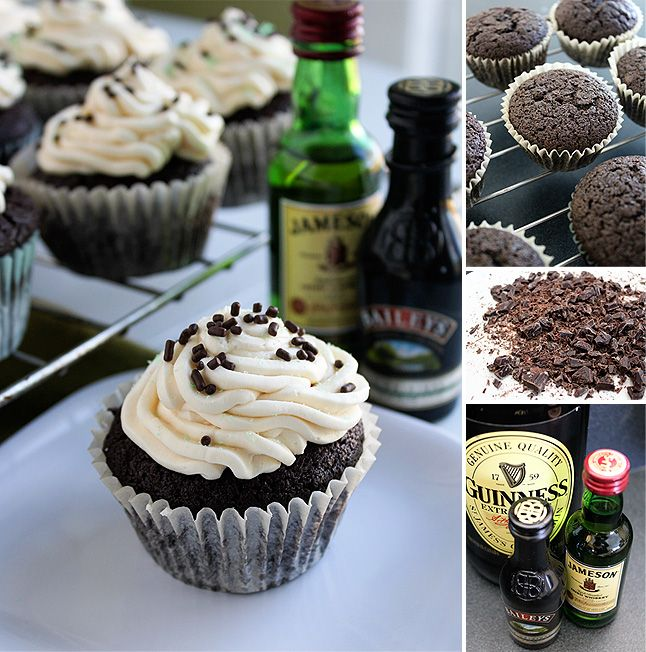 Irish Car Bomb Cupcakes: Guinness in the cupcake, Jameson in chocolate filling, & Baileys in the frosting.