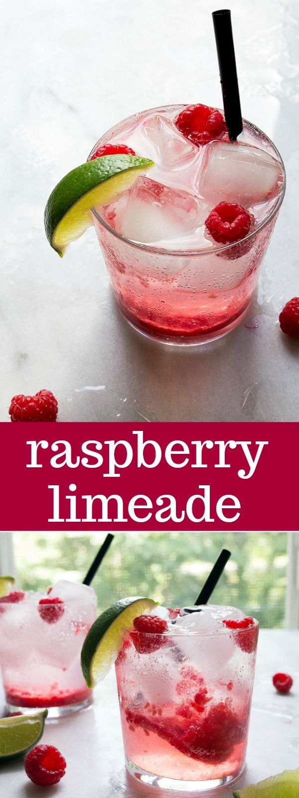 Fresh raspberry limeade! The coolest drink all summer using fresh raspberries, a splash of 7UP and lime juice! (Ok, fine, add vodka).
