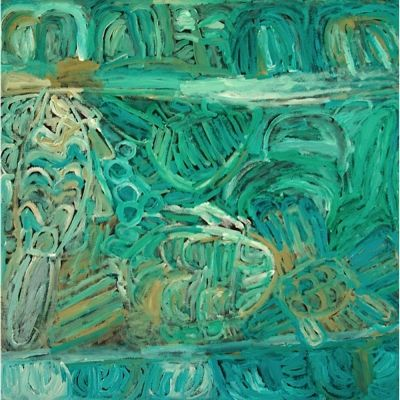 Sonia Kurrara, Martuwarra, 2013 Acrylic on canvas, 90 x 90 cm., Seva Frangos Art