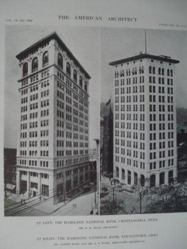 Hamilton/Mahoning National Banks, Chatt.,TN/Youngstown, OH 1912, Lithograph. Hunt, Kahn, & Wade.