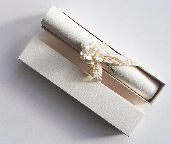 Wedding scroll invitation kit - pack of 10. £30.00, via Etsy.