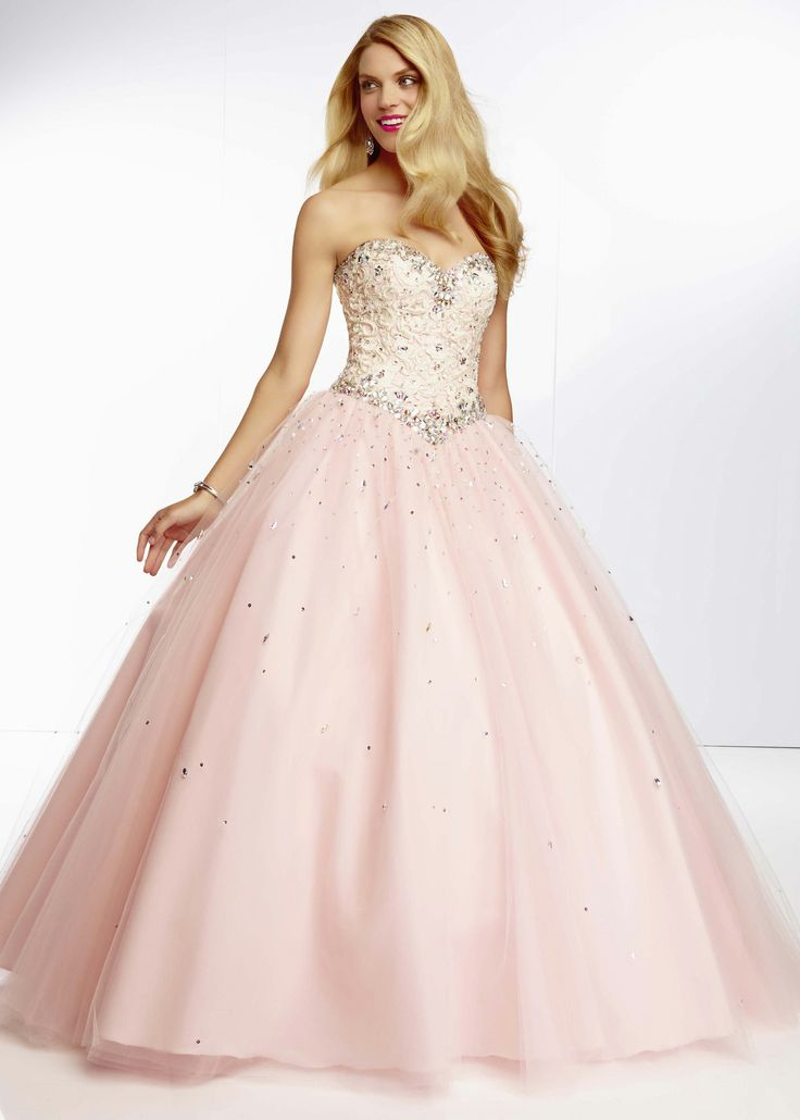 Low Price Guarantee on all 2014 prom dresses, Paparazzi by Mori Lee 95045 pink, champagne sweetheart beaded prom dress at RissyRoos.com.