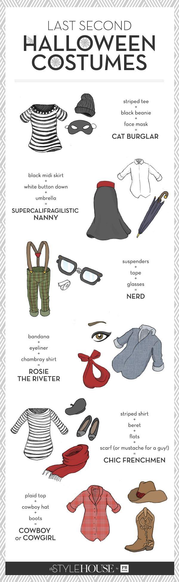last second halloween costumes //supercalifragilistic nanny // cat burglar // nerd // rosie the riveter // chic frenchmen // cowboy/cowgirl
