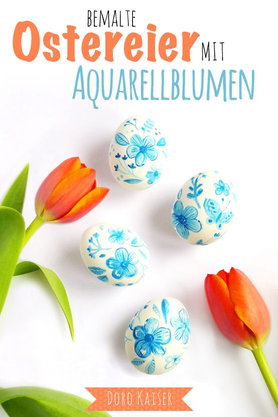 DIY Osterdeko: Ostereier mit zarten Blumen in Aquarell bemalen