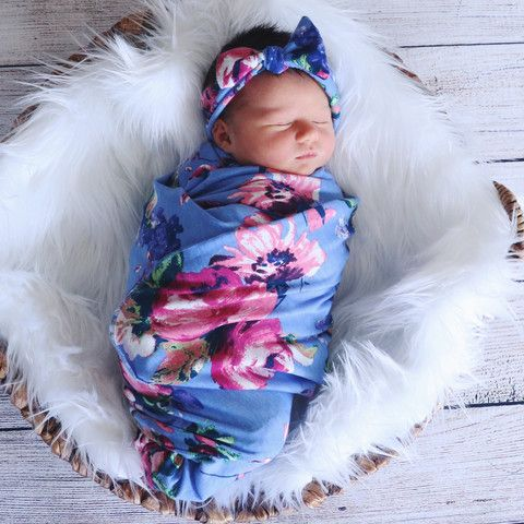 """Sky Flowers Swaddle Blanket and Headband Set 42""""x42"""" cotton knit blanket"""
