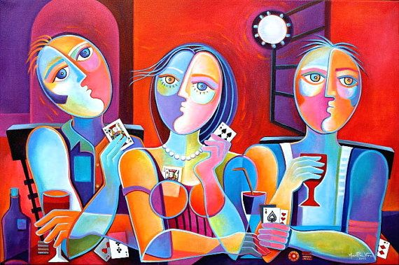 Abstract Cubist Painting Original Acrylic Large 36x24 Moonlight Poker Marlina Vera Modern Gallery Picasso style Paying cards Pop Art casino