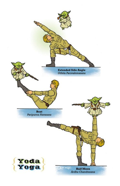 """Star Wars Yoda Yoga - To achieve galactic enlightenment and universal shanti, illustrator Rob Osborne drew upon his inner """"geekery"""" to concoct his masterpiece, the Galaxy Yoga. With help from Princess Leia, Luke Skywalker, RD-D2, C-3PO, Imperial Stormtroopers, and other Star Wars personalities, Osborne formulated 6 vinyasa."""