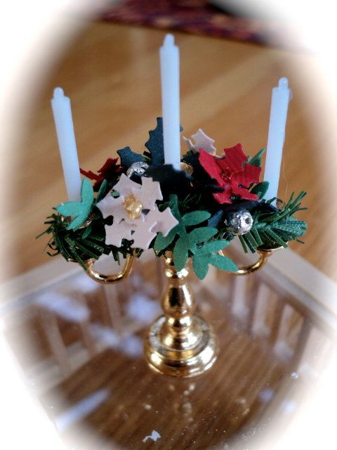 Christmas Candleabra  POINSETTIA / HOLLY by LittleHouseAtPriory, $23.50