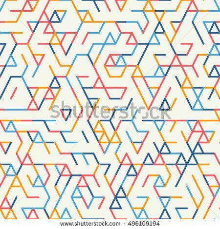 Abstract geometric background. Abstract technology pattern with colorful geometric shapes in tessellation. Linear abstract lattice, random coloring. V…