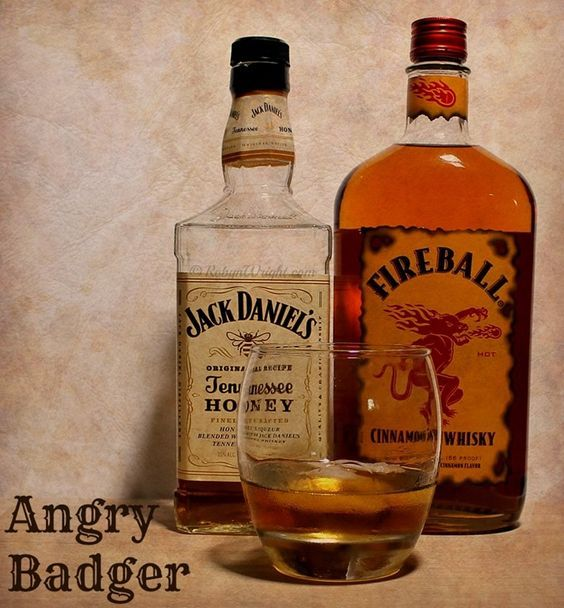 The Angry Badger Cocktail made with Fireball Cinnamon Whisky and Jack Daniel's Tennessee Honey Whisky