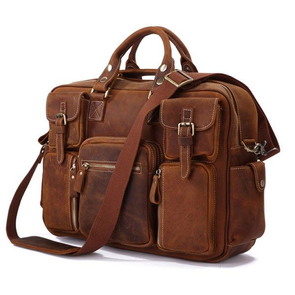 "Leather Laptop Bag 16,5"" Red Brown via Vintage Leather Bags. Click on the image to see more!"