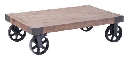 """98130 Barbary Coast 43"""" Coffee Table with Antiqued Metal Wheels and Solid Elm Wood Top in Distressed Natural Finish"""