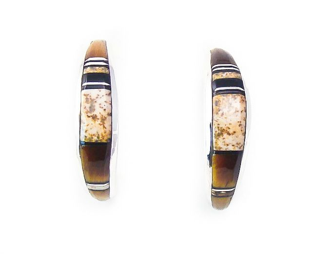 Navajo Rick Tolino Tiger Eye Onyx Picture Jasper Inlay Silver Earrings - Mesaverdesouthwest.com