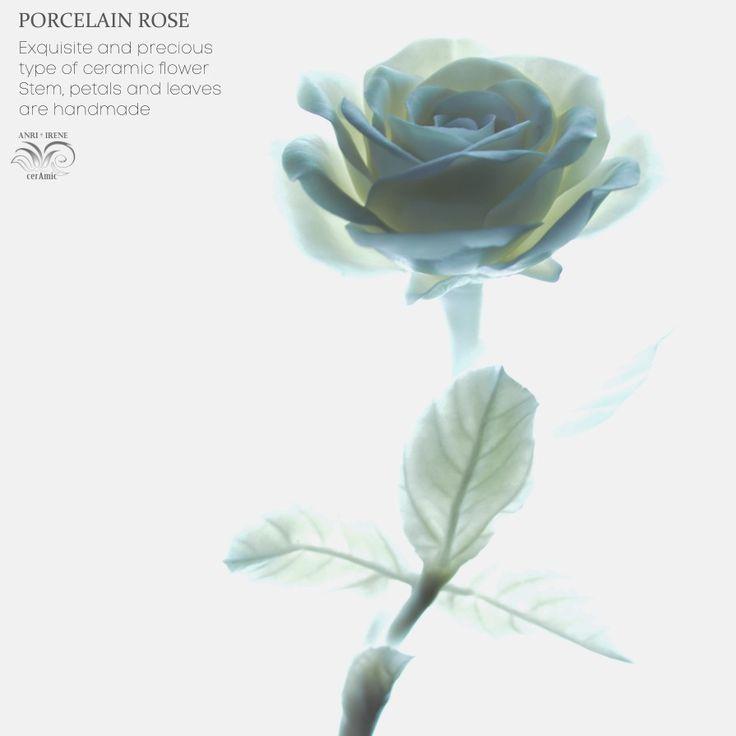 White porcelain rose. White ceramic flower. Ceramic floral for interior design.