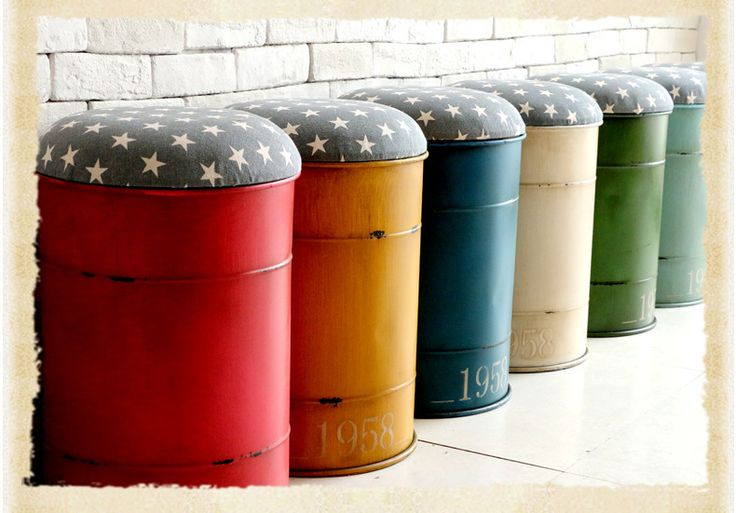 loft retro metal storage stool American country tin barrels creative custom bar bar stool