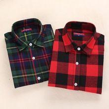 Winter Flannel Shirt Women Long Sleeve Plaid Shirts For Women Lapel Plaid Shirt Female Plus Size Chemisier Femme Formal Blouses(China (Mainland))