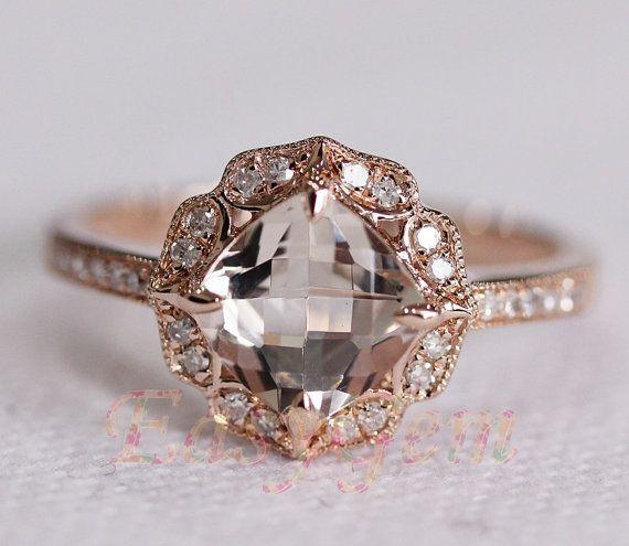milgrain bezel vintage morganite and diamond ring morganite ringmorganite engagement - Morganite Wedding Rings