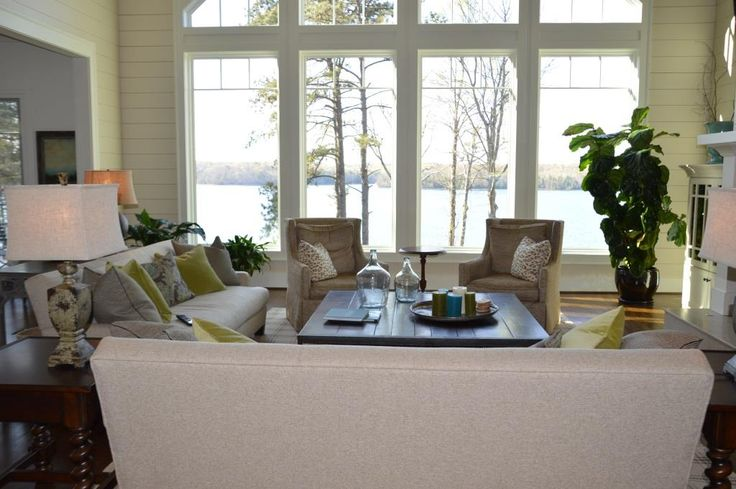 Lake Lanier Home: Stage 3 | Laura Ramsey Furniture & Interiors. #lauraramseyinteriors #interior #design #neutral #upholstery #white #lake #lakehouse #accessories #green #brown #pillows #furniture #leeindustries #leejofa #dashandalbert #visualcomfort