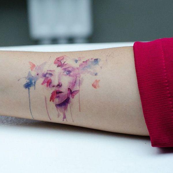14 Portrait watercolor tattoo