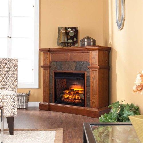 Bowery Hill Faux Stone Grey Corner Fireplace In Oak Corner