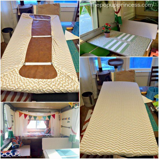 Use fitted crib sheets to cover your camper cushions.  They are economical and easy to remove for washing.