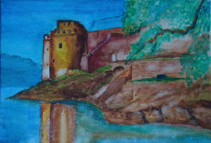 Dartmouth Castle painted in watercolours