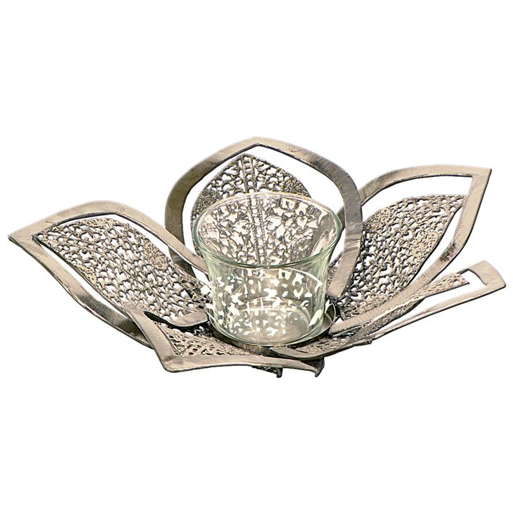 "Silver Flower Candle Holder 26cm ( 10"" wide ) by thehomedesignstore on Etsy"