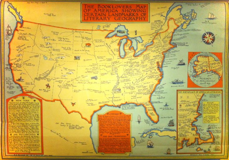 The Booklovers Map of America Showing Certain Landmarks of Literary Geography -- created by pictorial cartographer Paul M. Paine in 1933 via brainpickings.org