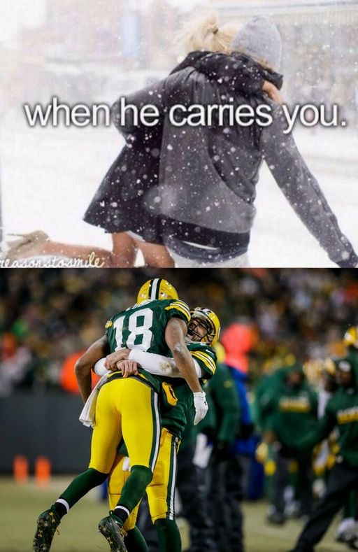 Aaron Rodgers and Randall Cobb, A Bromance for the Ages. #Packers #GreenBay #Football #NFL #Funny #Playoffs
