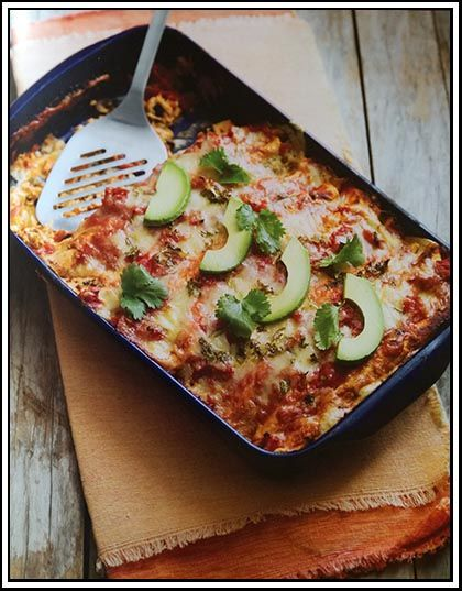 Sour Cream and Chicken Enchiladas - Originally a mexican recipe, an enchilada is a tortilla rolled around a filling and covered in a chilli or pepper sauce.