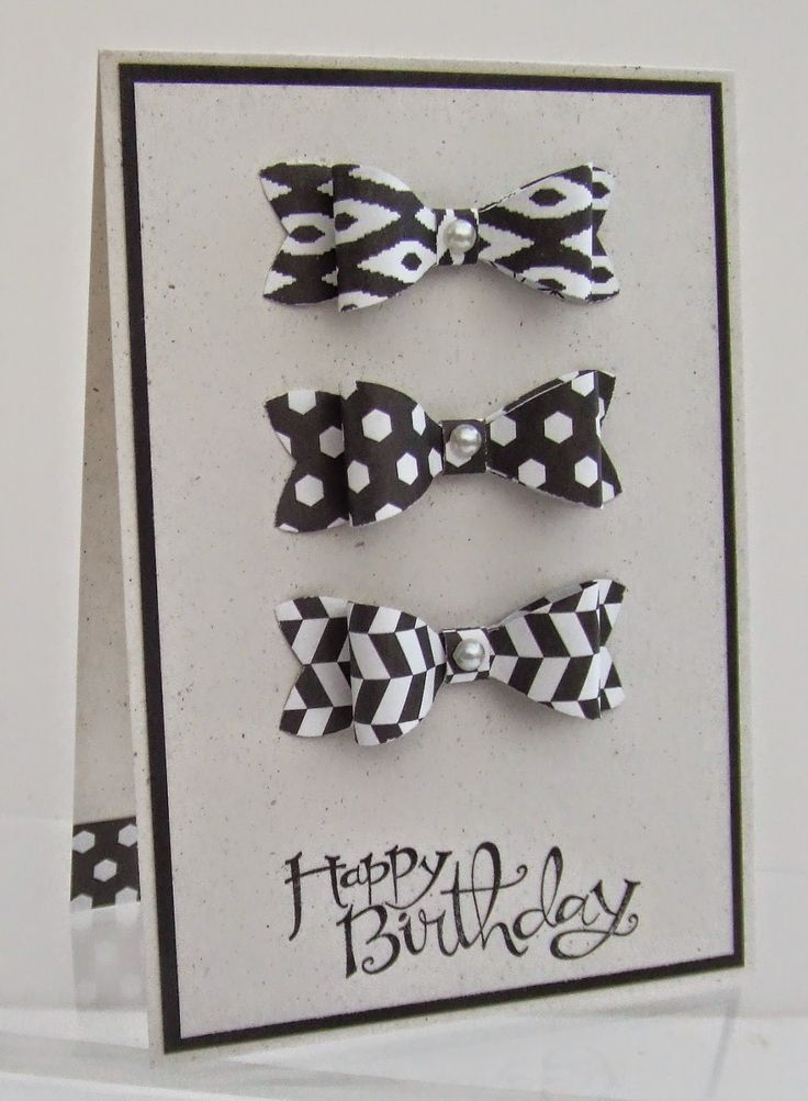 Love this card for its simplicity! Use the Bow Builder punch and Back to Black designer paper for this sharp black and white handmade birthday card. The large white pearls add a nice touch of bling.