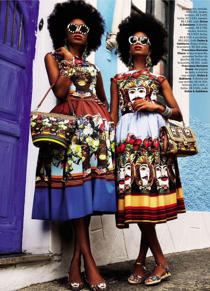 "Models in Dolce & Gabbana for the feature ""Carmen Miranda Reloaded,"" Vogue Brazil February 2013. Photographed by Italian fashion photographer Giampaolo Sgura."