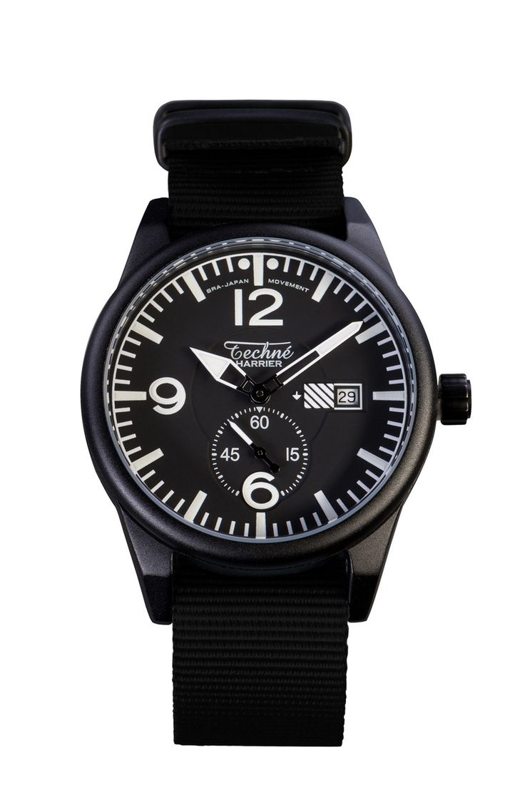 Techne Instruments Harrier 386 41mm Watch in Black Nylon
